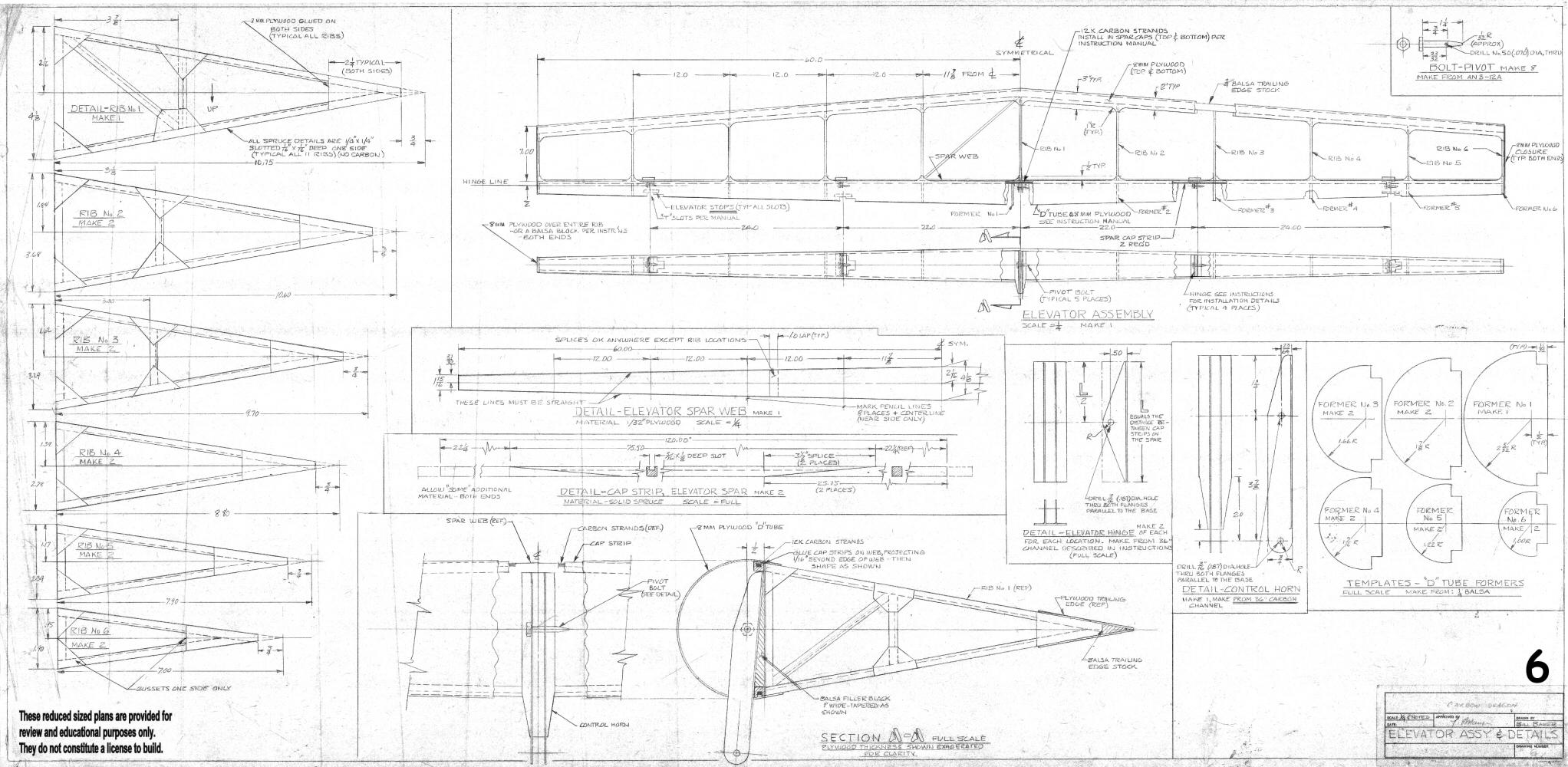 Half scale quarter size carbon dragon reference plans for Half size set of plans